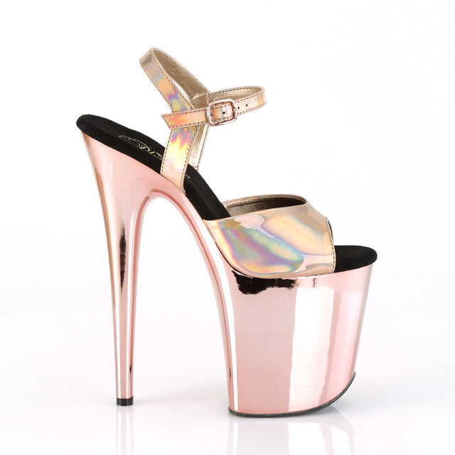 "Flamingo 809HG Rose Gold Hologram Mirrored Platform 8"" High Heel Ankle Strap Shoe"