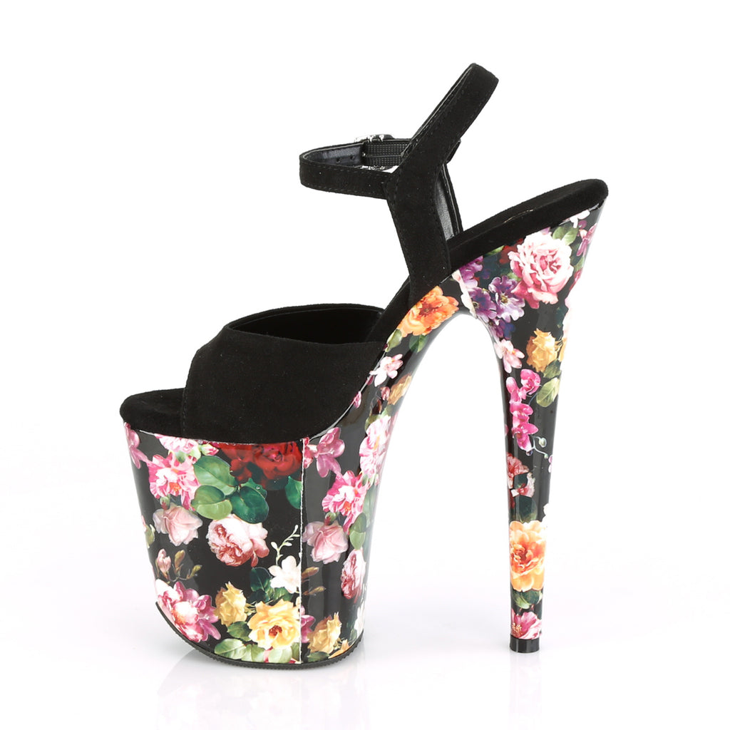"Flamingo 809WR Floral Print Ankle Strap Platform Shoe 8"" High Heel Shoes"