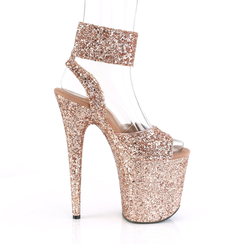 "Flamingo 891G Wide Ankle Cuff Glitter Shoes - 8"" High Heels"