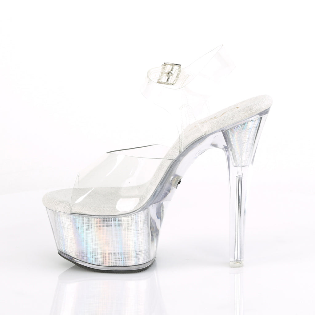 "Flash Dance 608CH Clear PVC Upper LED Lighted Platform - 6"" Heel"