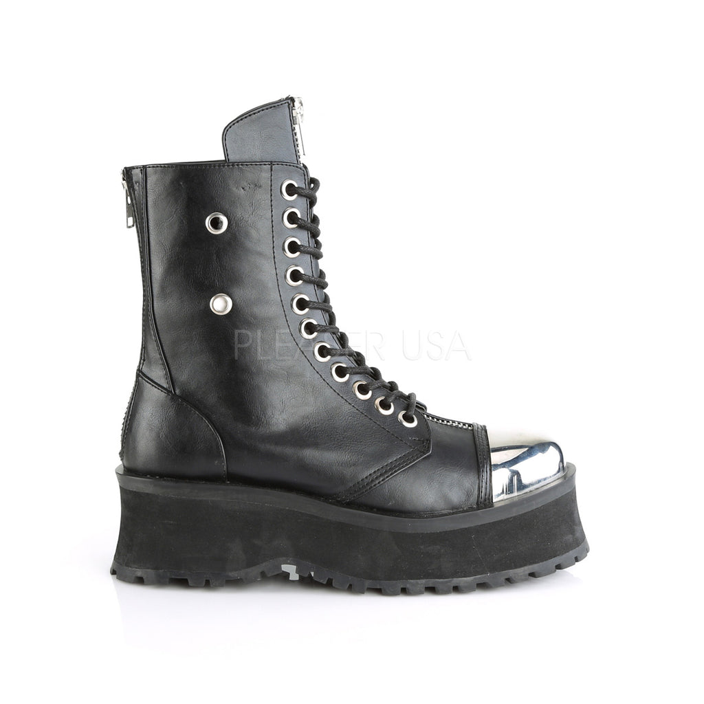 Grave Digger 10 Black Chrome Toe Men's Goth Platform Boot