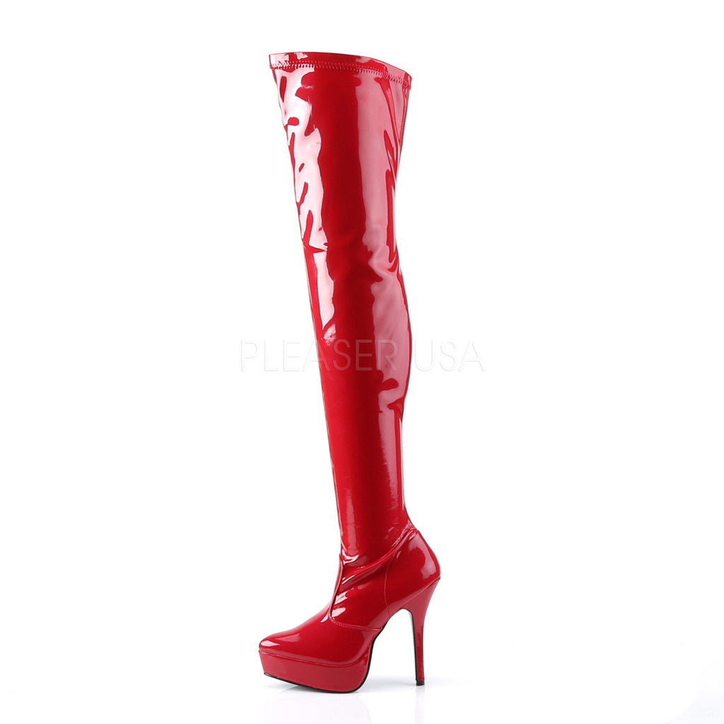 "Indulge 3000 Red Patent 5.25"" Stiletto Heel Stretch OTK Thigh Platfrom Boot"