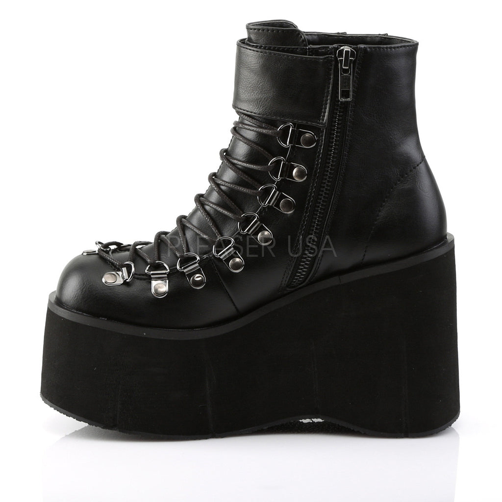 Kera 21 Leatherette Upper Platform Lace Up Ankle Boot Black