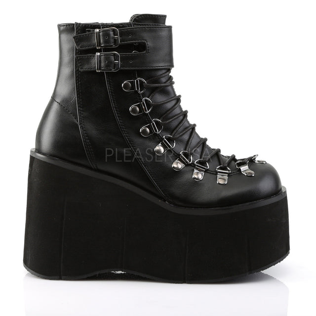 Kera 21 Leatherette Upper Platform Lace Up Ankle Boot Black - Totally Wicked Footwear
