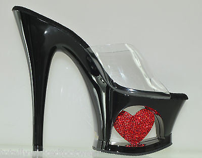 Moon 701H Cut Out Platform Inset Red Rhinestone Heart Shoes
