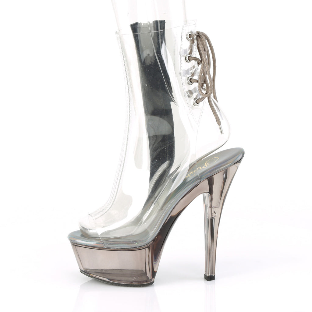 "Kiss 1018CT Clear Open Toe Smoke Tint Platform Ankle Boots - 6"" High Heel"