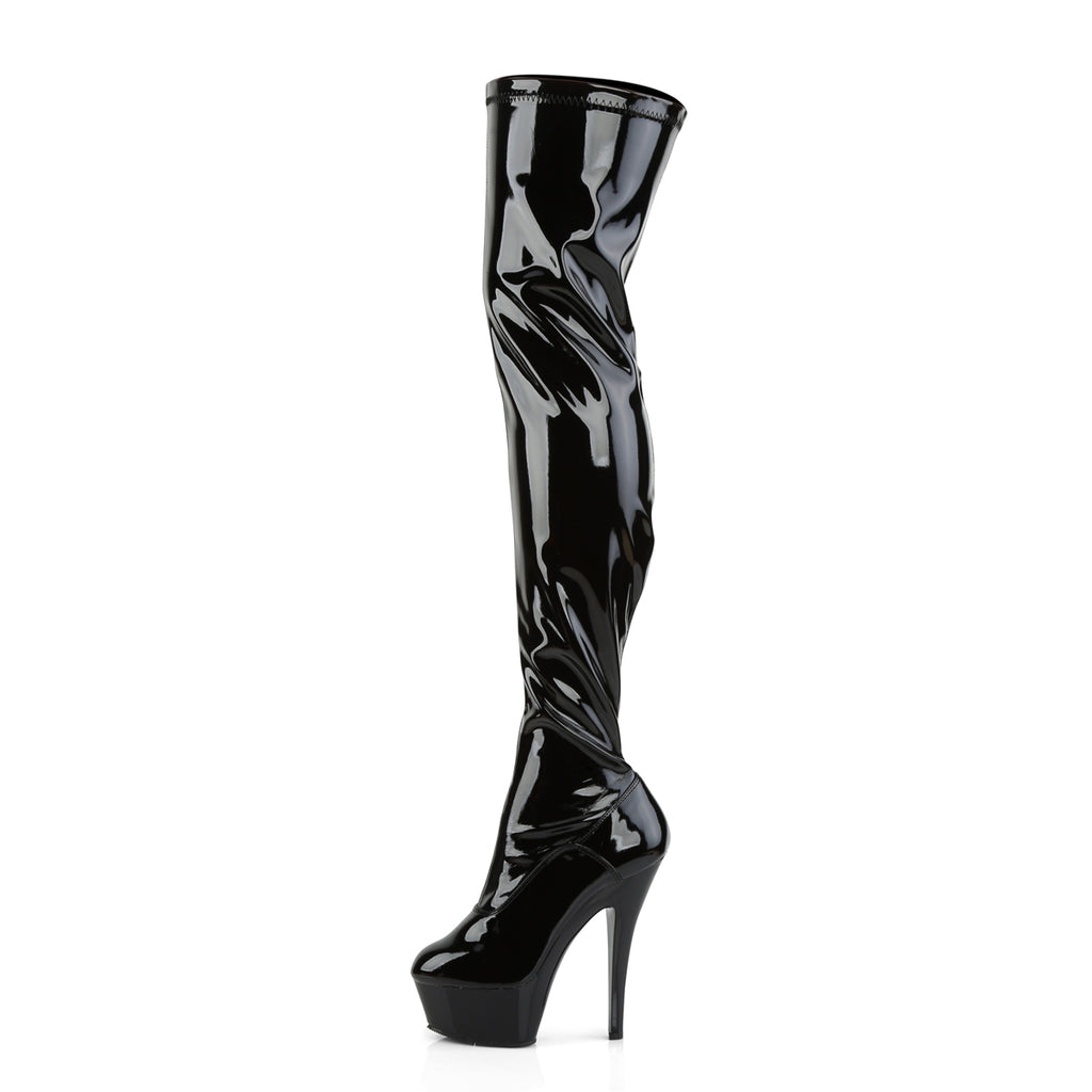 "Kiss 3000 Black Patent Thigh High Boot - 6"" High Heel"