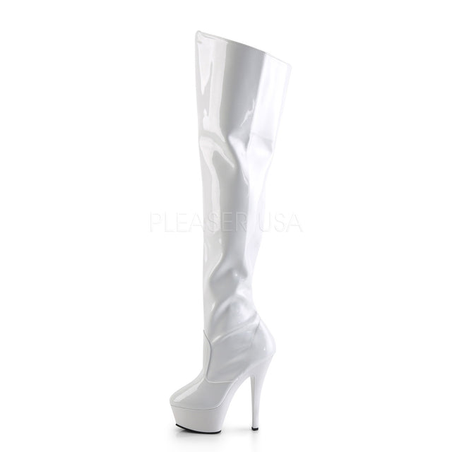 "Kiss 3010 White Patent Thigh High Boot - 6"" High Heel"