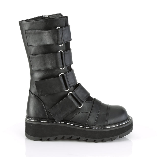 Lilith 211 Black Vegan Leather Multi Strap Mid Calf Ankle Boots 6-12