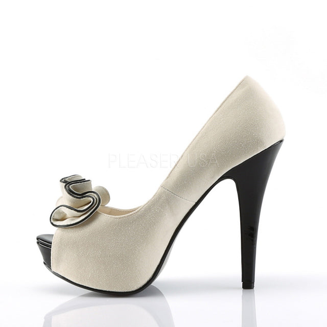 Lolita Beige Fabric Ruffle Peep Toe High Heels Platform Pumps