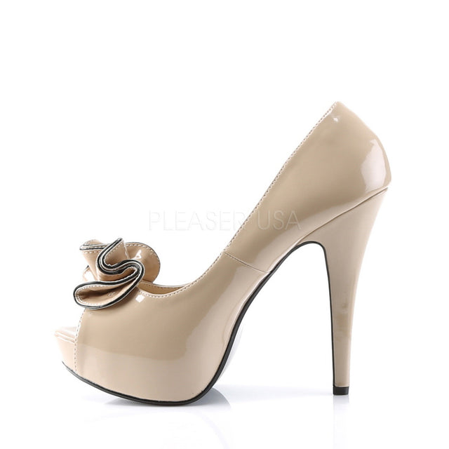 Lolita Nude Patent Ruffle Peep toe Platform Pumps - Totally Wicked Footwear