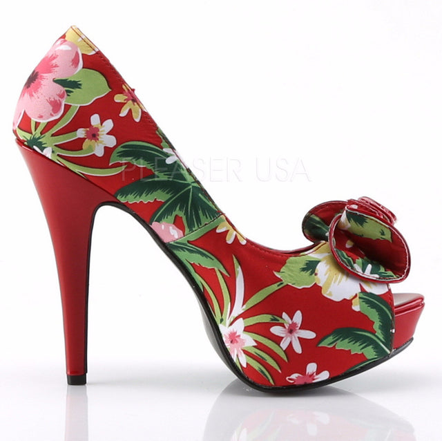 Lolita 11 Red Tropical Floral Print Fabric Peep toe Platform Pumps