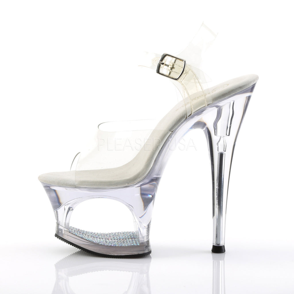 Moon 708dm Clear Upper Silver Mirrored Cut Out Platform Rhinestone Shoe - Totally Wicked Footwear
