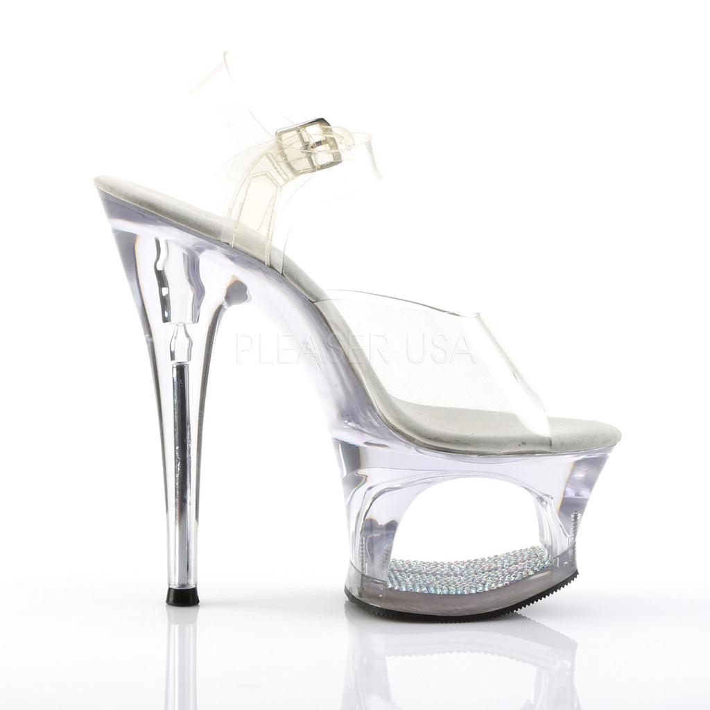 Moon 708dm Clear Upper Silver Mirrored Cut Out Platform Rhinestone Shoe
