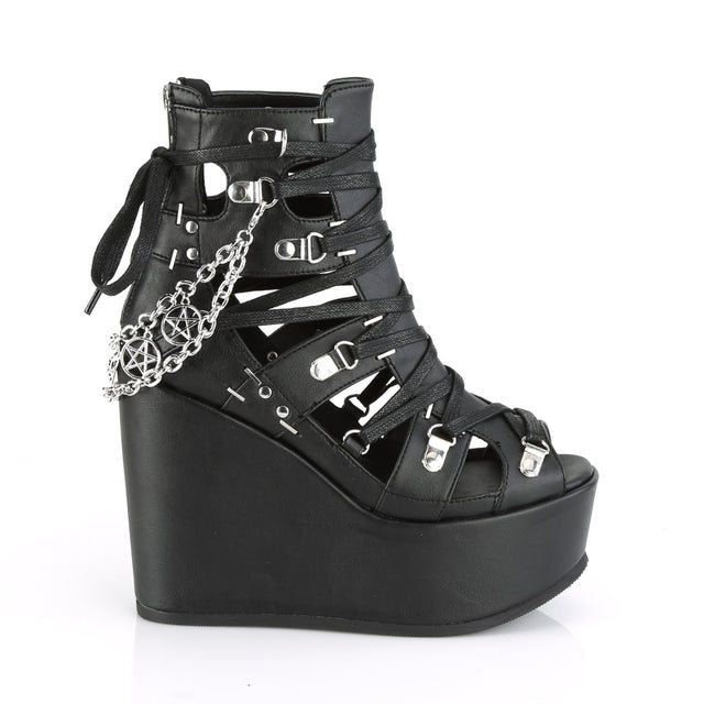 "Poison 95 Goth Punk Platform Cage Ankle Boots 5"" Wedge"