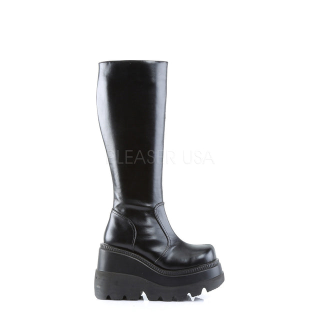 Shaker 100 Black Smooth Mid Calf Platform Gothic Boot