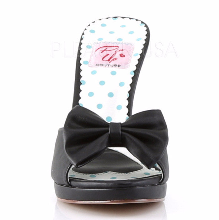 "Siren 03 Matte Leatherette Slide Slip On with Bow Detail 4"" Heel Black"