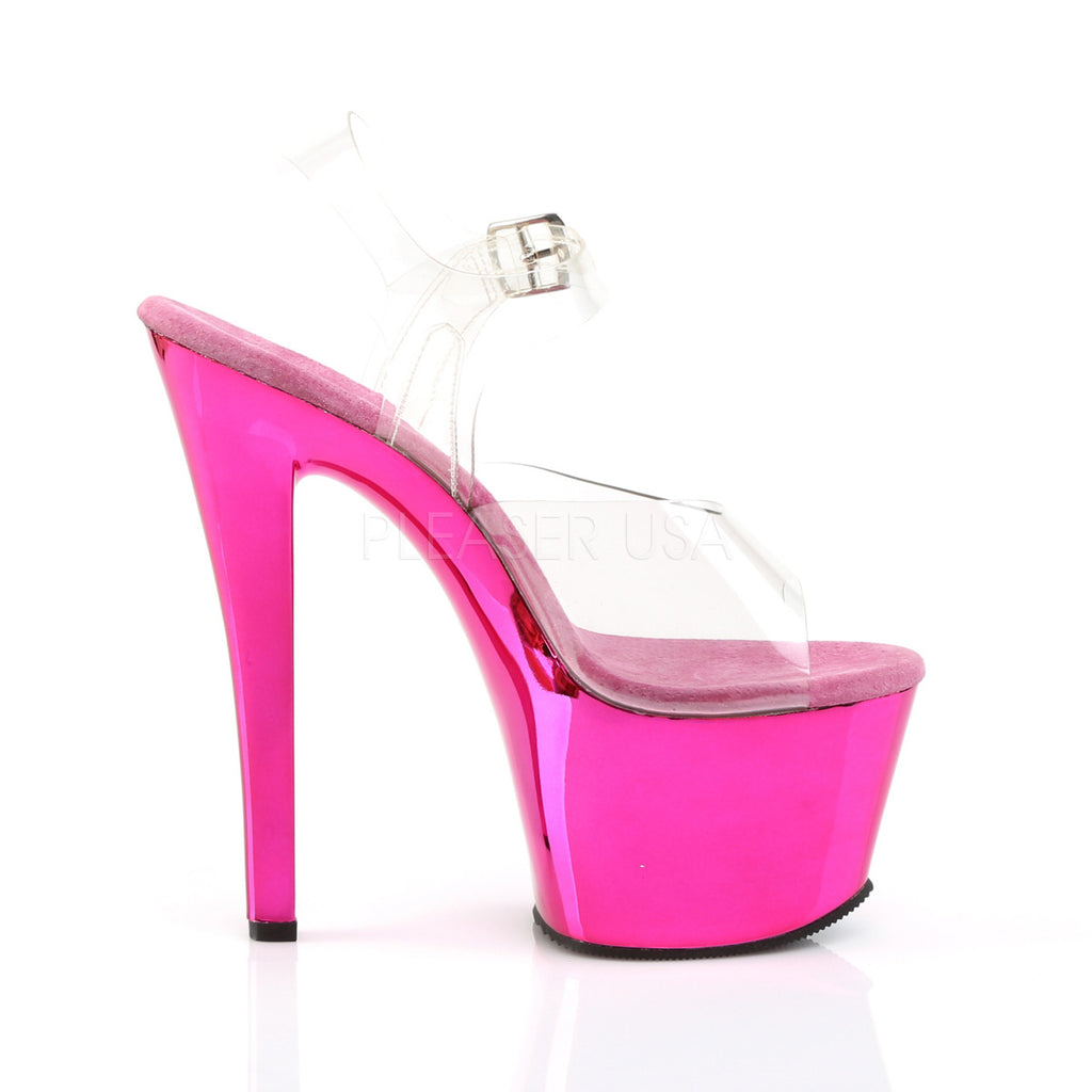 "Sky 308 Fuchsia Pink Chrome Platform Shoe 7"" Heels - Totally Wicked Footwear"