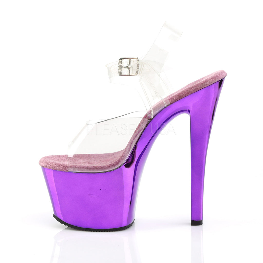 "Sky 308 Purple Chrome ClPlatform Shoe 7"" Heel"
