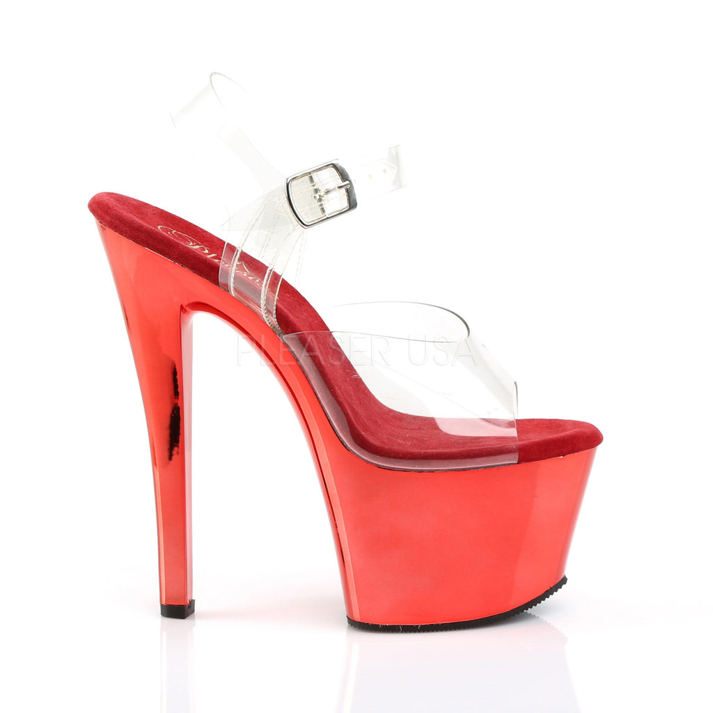 "Sky 308 Red Chrome Platform Shoe 7""  Heels - Totally Wicked Footwear"