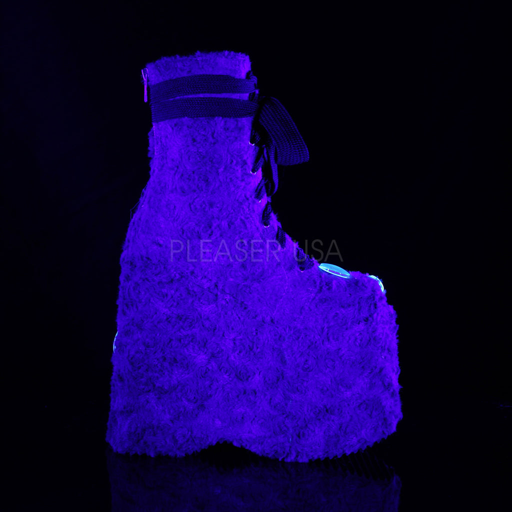 "Slay 206 Lime Green Fur Furry Monster 7"" Platform Ankle Boots 6-14"