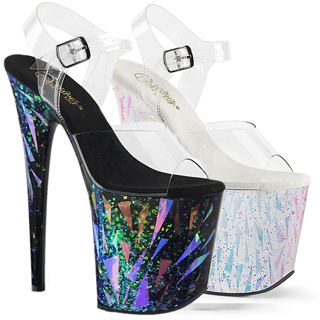 "Flamingo 808Splash Hologram Platform Sandal Shoe  8"" High Heels"