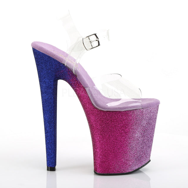 "Xtreme 808 Ombre Blue To Fuchsia Blend Effect Platform 8"" High Heel"