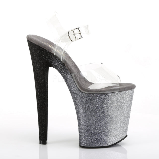 "Xtreme 808 Ombre Black To Silver Blend Effect Platform 8"" High Heel"