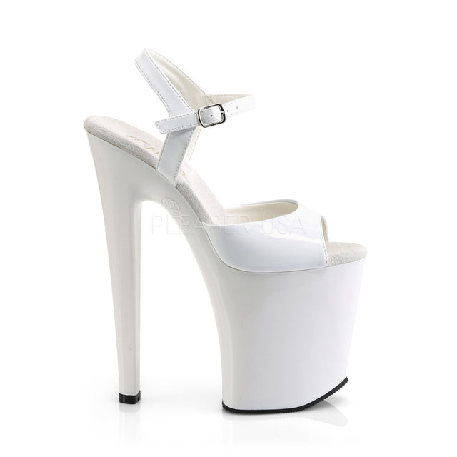 "Xtreme 809 White Platform 8"" High Heel Shoes"