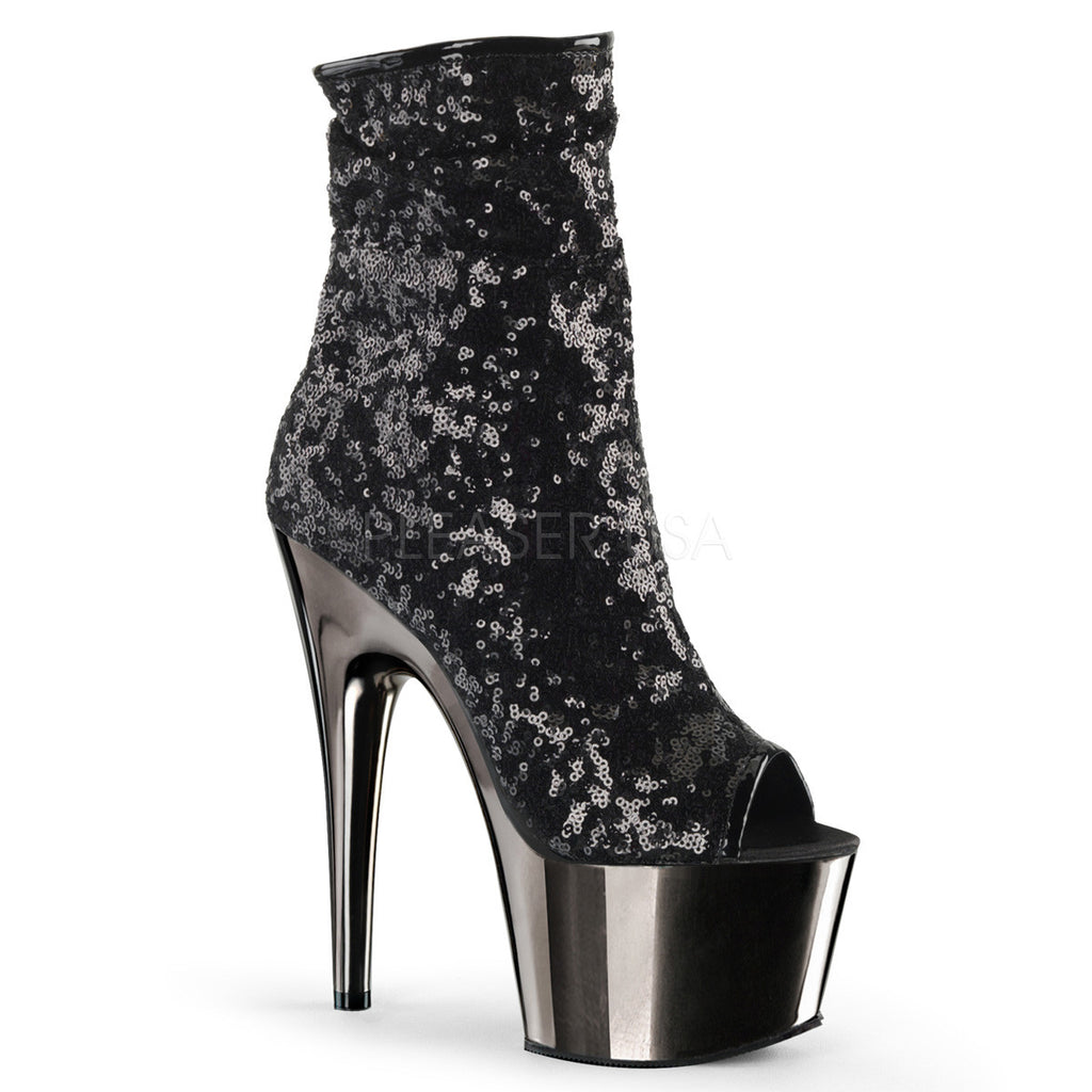 Black Sequin Ankle Boots
