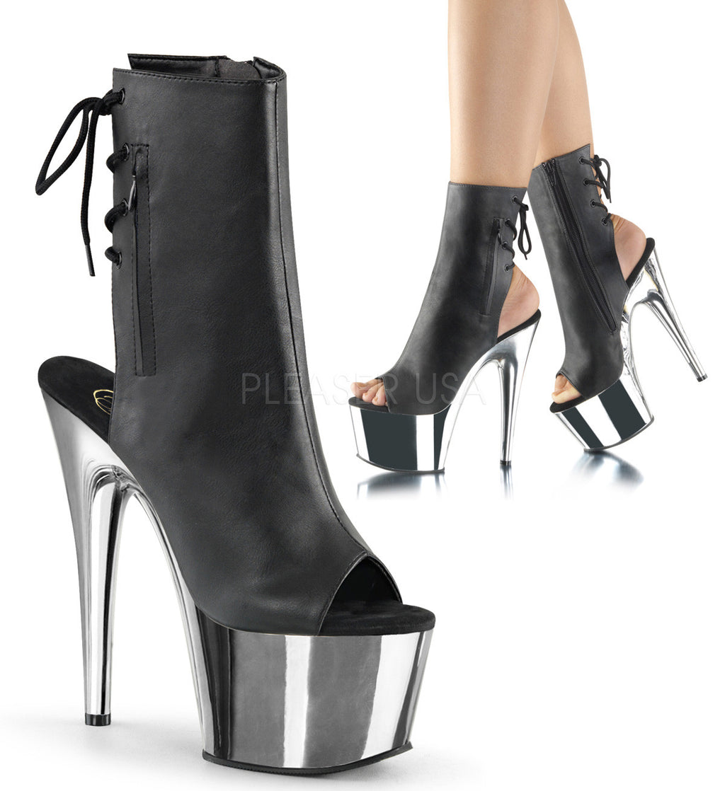 "Adore 1018  Black Matte Silver Chrome Platform 7"" Heel Ankle Boot - Totally Wicked Footwear"