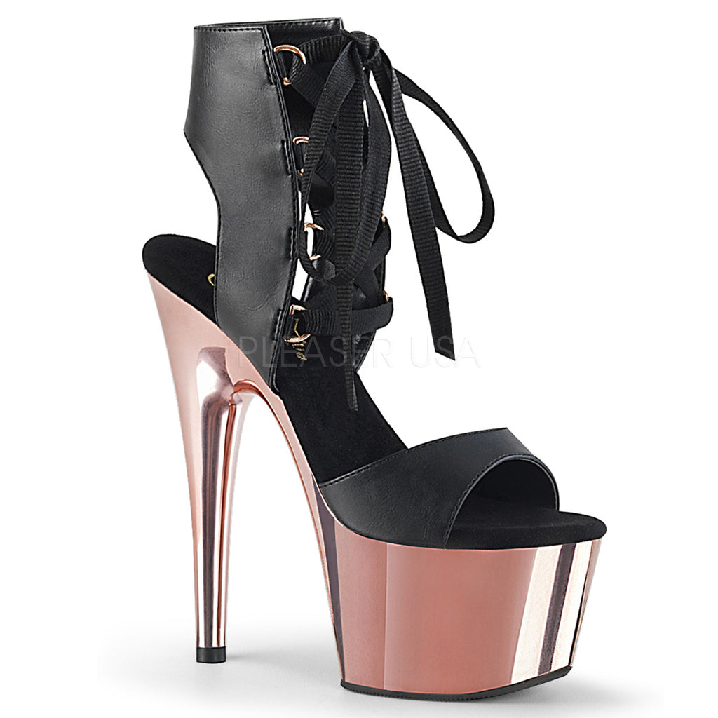 "Adore 700-14 Black Rose Gold Lace Up Front Platform Heel Shoe - 7"" Heels"