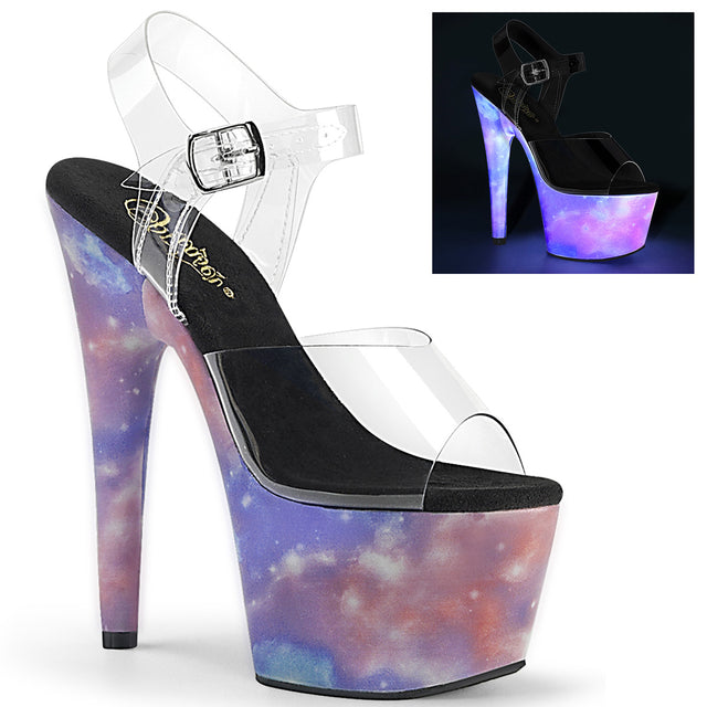 "Adore-708REFL Purple-Blue Reflective 7"" High Heels"