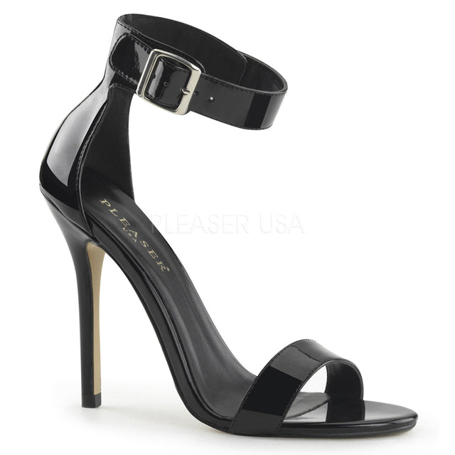 "Amuse 10 Black Patent Ankle Cuff Single Sole Sandal 5"" Heel"