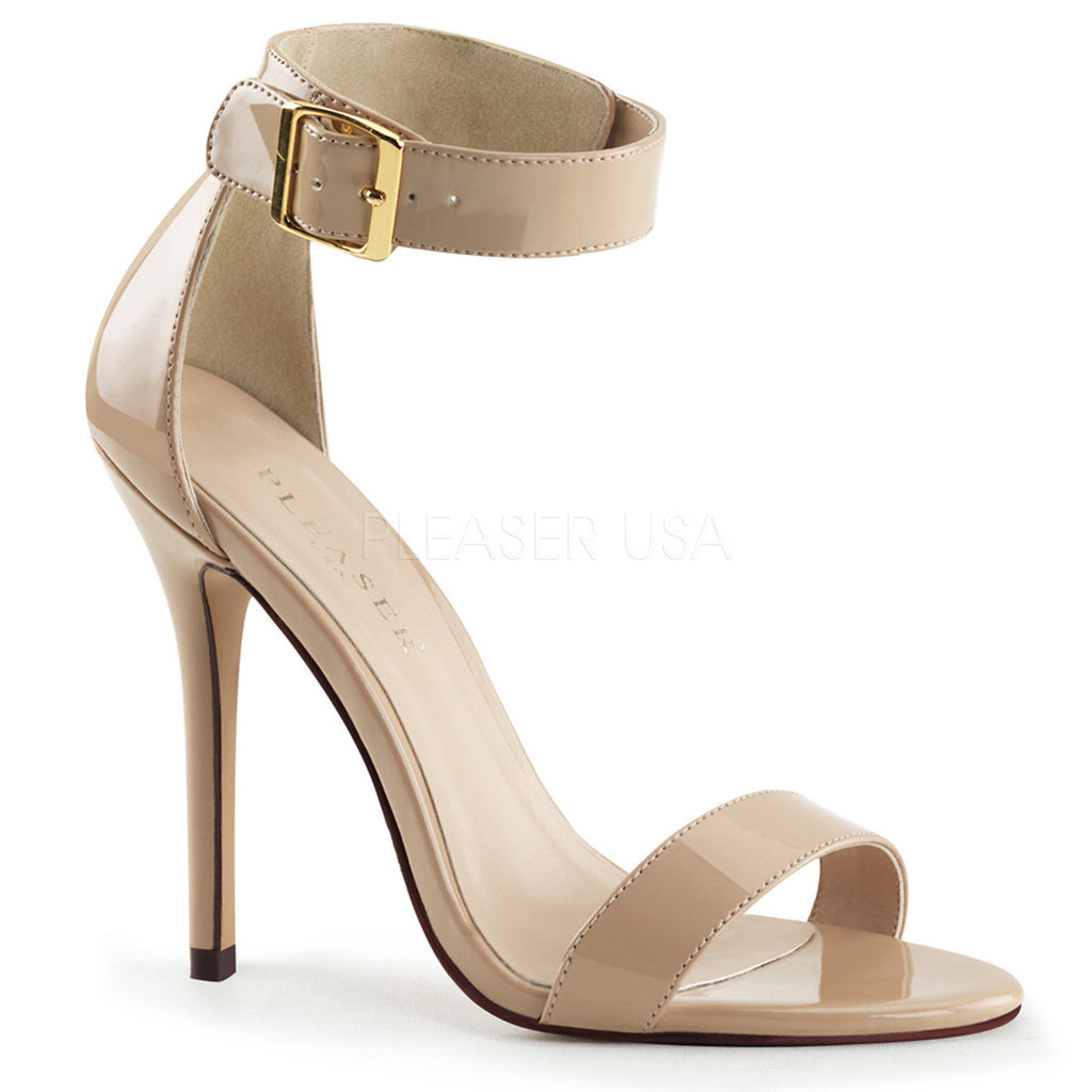 "Amuse 10 Cream Patent Ankle Cuff Single Sole Sandal 5"" Heel - Totally Wicked Footwear"