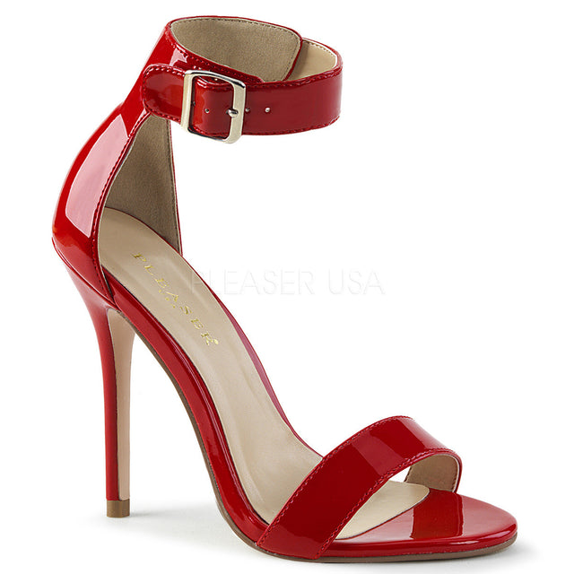 "Amuse 10 Red Patent Ankle Cuff Single Sole Sandal 5"" Heel"