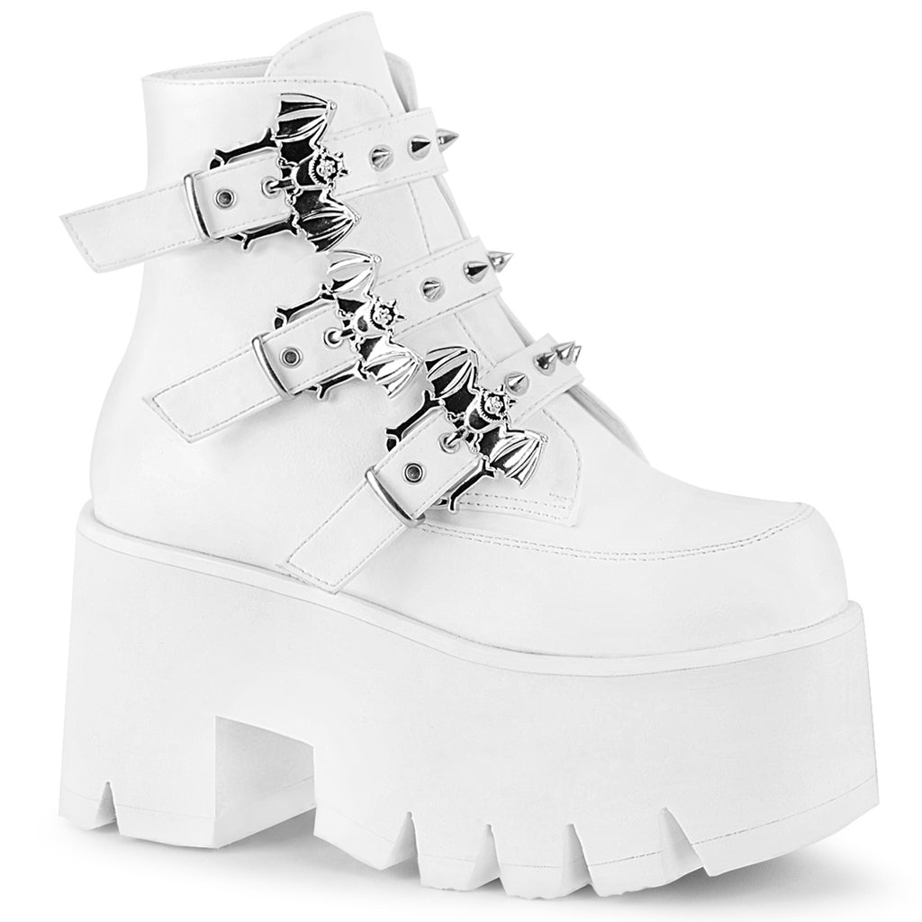 "Ashes 55 Platform Lace Up Ankle Boots 3.5"" Chunky High Heel 6-12 - White"