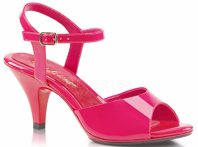 "Belle 309 Ankle Strap 3"" Heel Sandal 6 - 16 Hot Pink Patent - Totally Wicked Footwear"