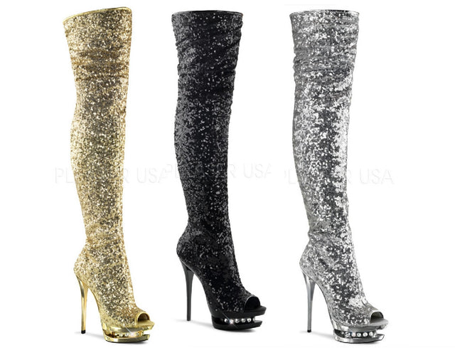 Blondie 3011 Gold Silver Or Black Sequin Dual Platform OTK Thigh Boot