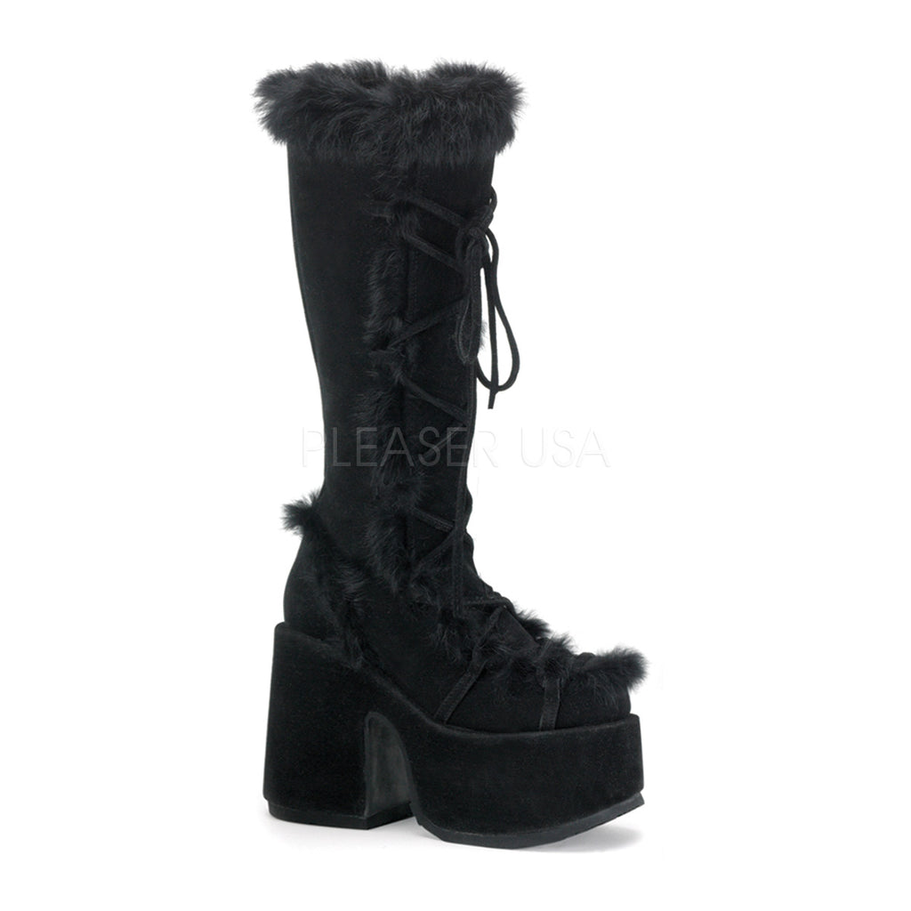 "Camel 311 Black Furry Lace Up Goth Platform Chunky 5"" Heel Knee Boot"