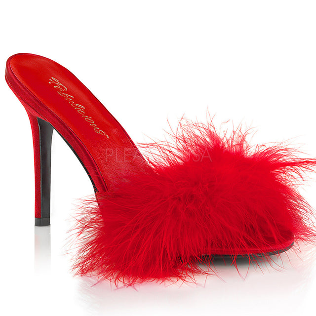 "Classique 01F Red Marabou Slipper 4"" Stiletto Heel Shoe 6 - 16"