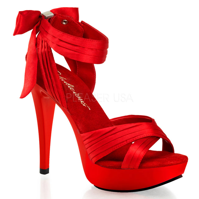 Cocktail 568 Red Satin Pleated Back Bow Ankle Strap Platform Shoe - Totally Wicked Footwear