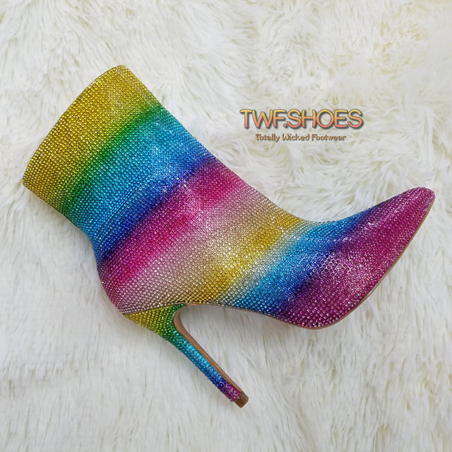 "CR Rainbow Sparkle Rhinestone 4"" High Heel Ankle Boots"