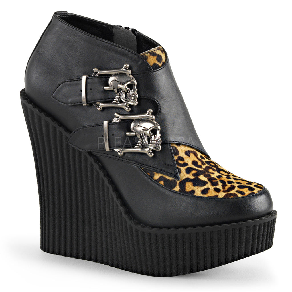 Creeper 306 Black / Leopard Wedge Skull Buckle Oxford