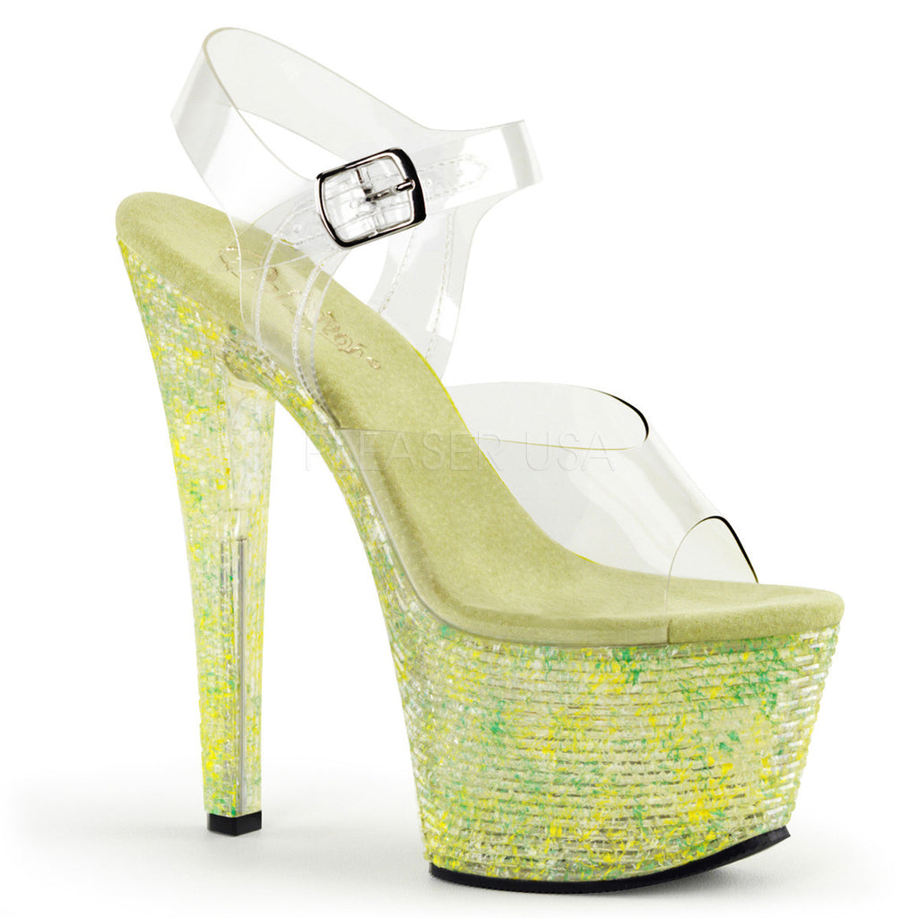 "Crystalize 308TL Clear Ankle Strap Upper Shoe Tiled Stone 7"" Platform Heel - Green - Totally Wicked Footwear"