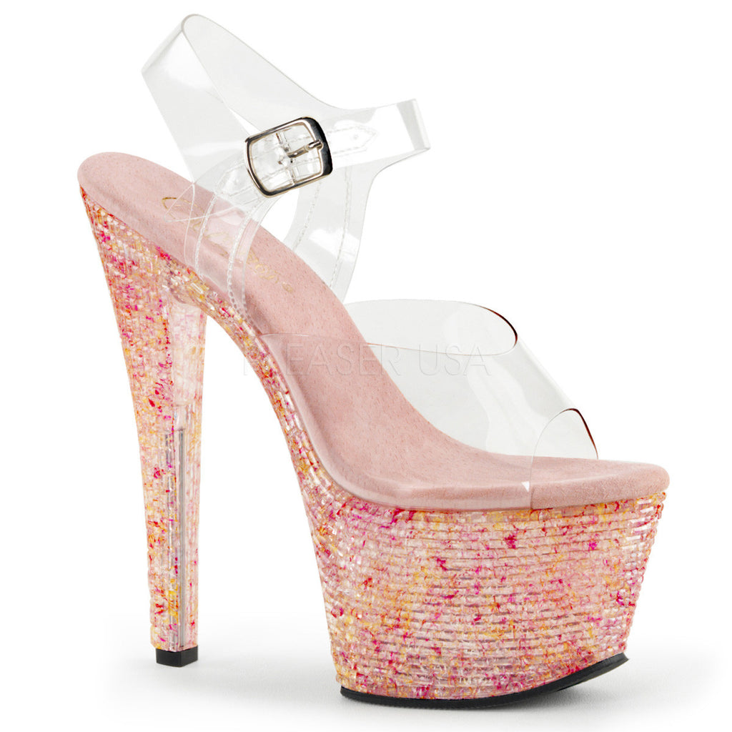 "Crystalize 308TL Clear Ankle Strap Upper Shoe Tiled Stone 7"" Platform Heel - Pink - Totally Wicked Footwear"
