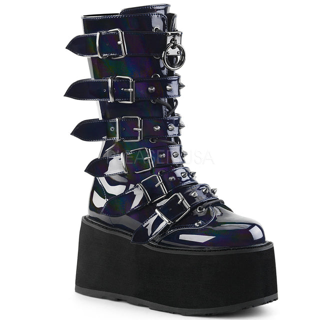 "Damned 225 Multi Strap Goth Punk Rock 3.5"" Flat Platform Boot Black Hologram"