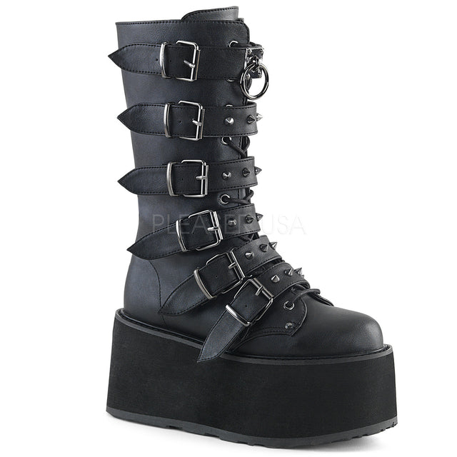 "Damned 225 Multi Strap Goth Punk Rock 3.5"" Flat Platform Boot Black Matte"
