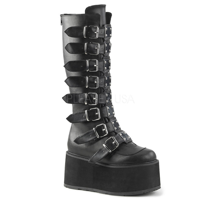 "Damned 318 Goth Punk Rock 3.5"" Platform Knee Boot Black Matte"