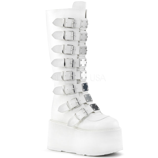 "Damned 318 Goth Punk Rock 3.5"" Platform Knee Boot White Matte"